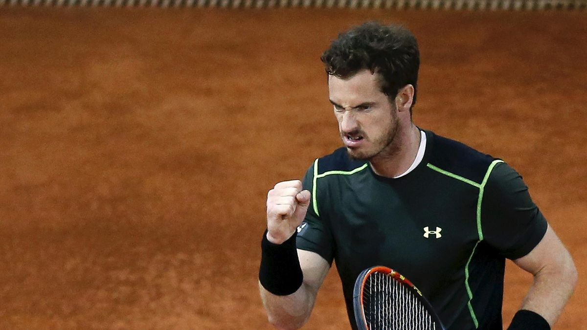 Britain's Andy Murray celebrates winning a point against Japan's Kei Nishikori at the end of their semi-final match at the Madrid Open tennis tournament in Madrid, Spain, May 9, 2015