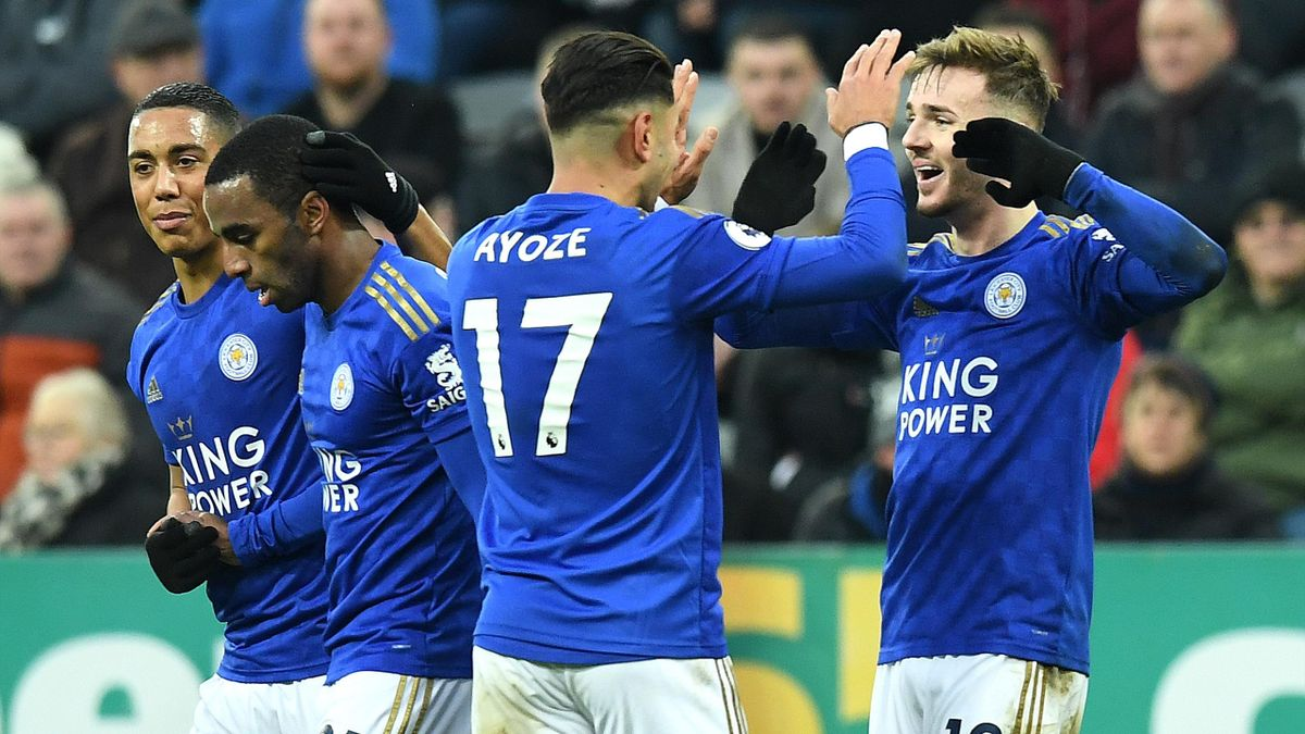 James Maddison of Leicester City celebrates with Ayoze Perez of Leicester City after he scores his sides second goal during the Premier League match between Newcastle United and Leicester City