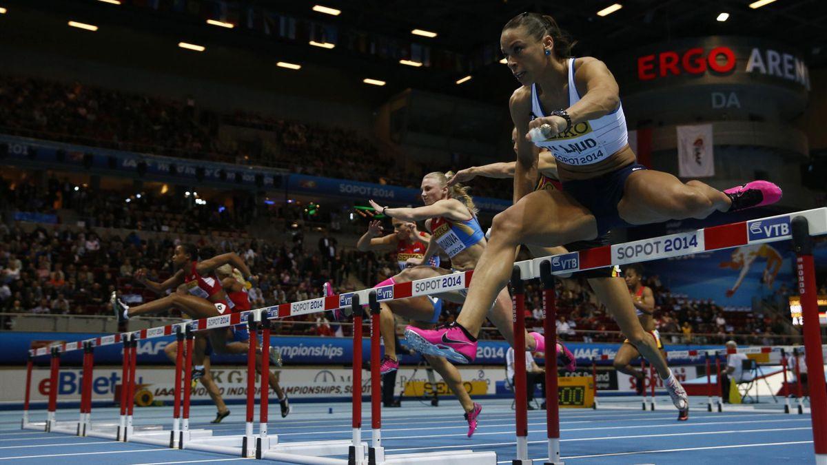 France's Cindy Billaud competes in women 60 meter hurdles IAAF World Indoor Athletics Championships
