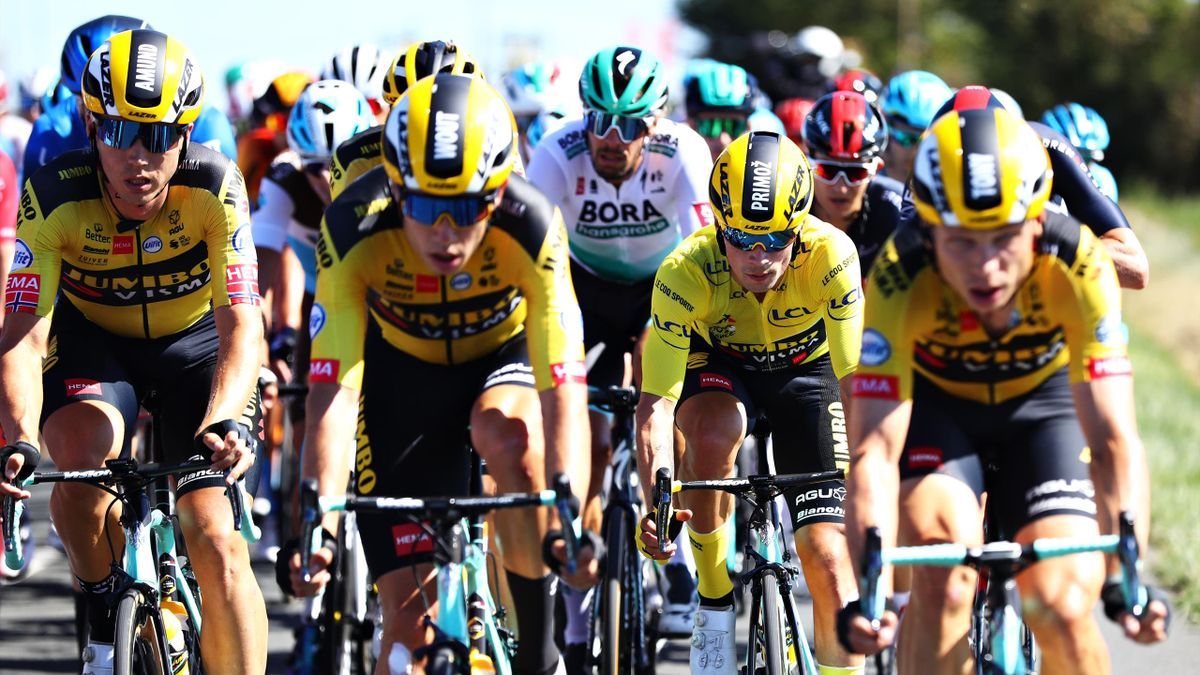 Jumbo Visma protect their leader Primoz Roglic at the Tour de France during Stage 10