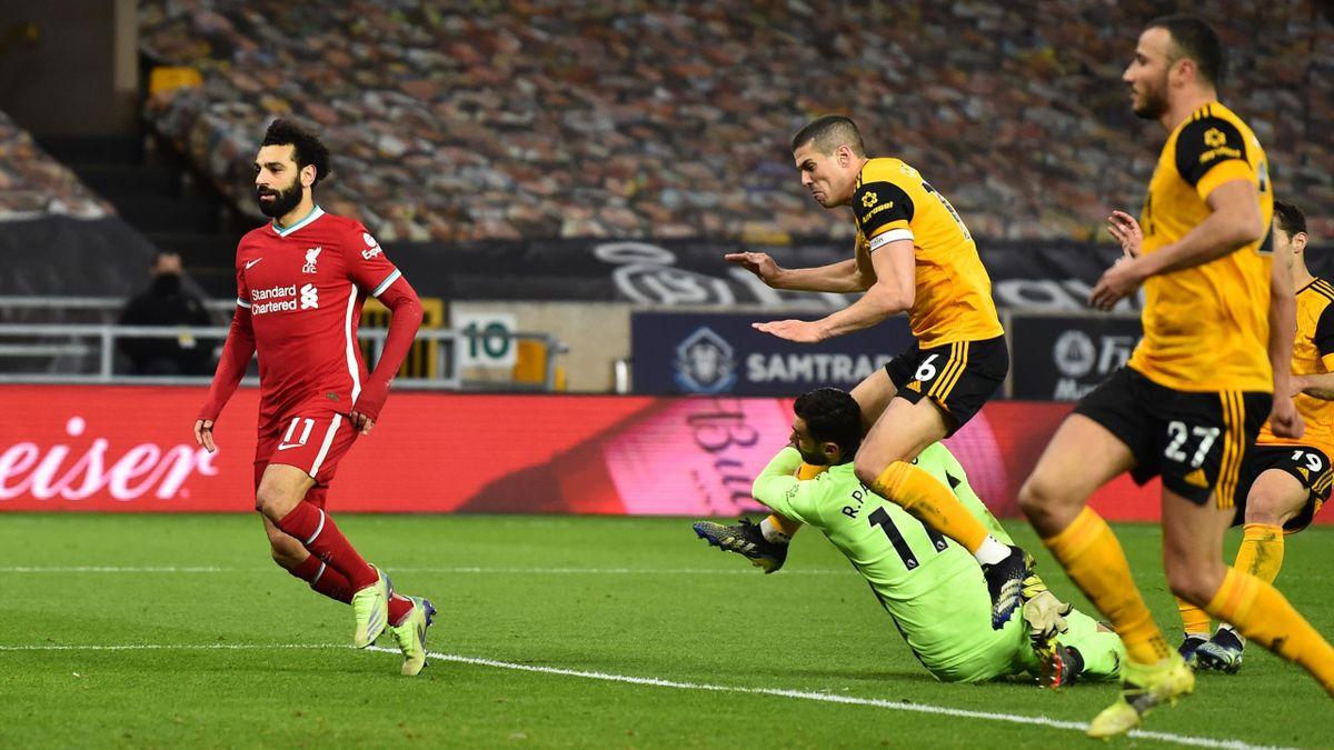 Rui Patricio (links; Wolverhampton Wanderers) im Spiel gegen den FC Liverpool