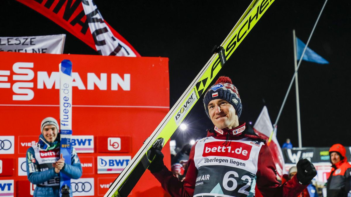 Winner Kamil Stoch from Poland celebrates after the Raw Air tournament at the Ski Jumping World Cup in Lillehammer on March 10, 2020.