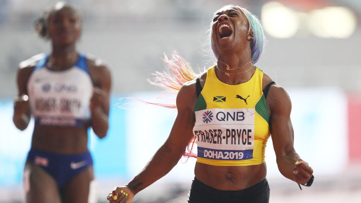 Shelly-Ann Fraser-Pryce après sa victoire sur 100m à Doha