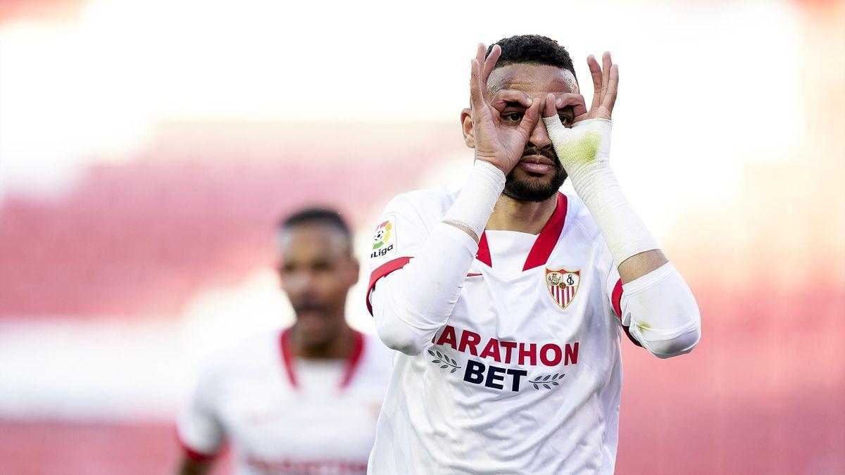 Youssef En-Nesyri of Sevilla FC celebrates his team's first goal during the La Liga Santander match between Sevilla FC and Valencia CF at Estadio Ramon Sanchez Pizjuan