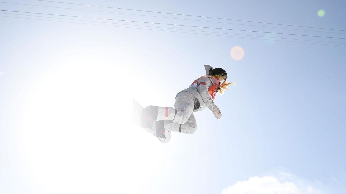 Chloe Kim lors de l'épreuve du halfpipe / JO de Pyeongchang