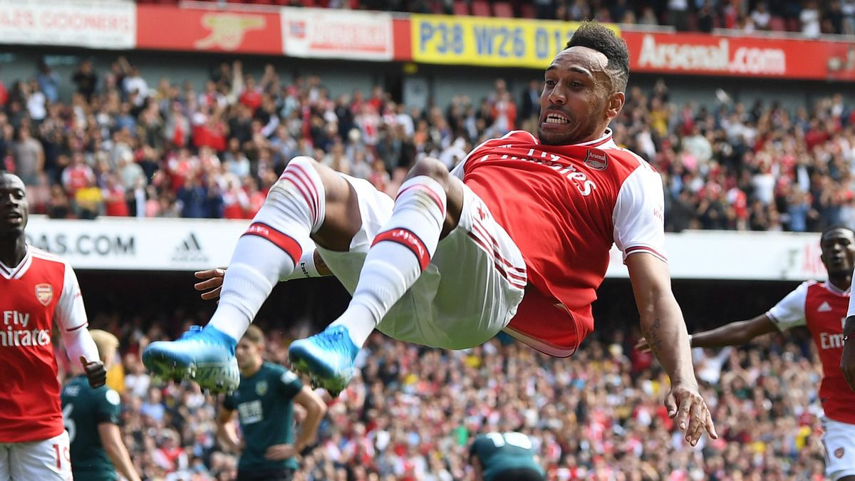 Pierre-Emerick Aubameyang celebrates scoring the 2nd Arsenal goal during the Premier League match between Arsenal FC and Burnley FC