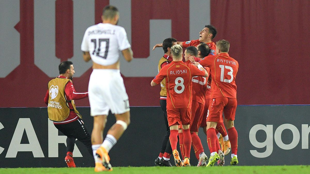 Goran Pandev of North Macedonia celebrates after scoring his team's first goal during the UEFA EURO 2020 Play-Off Final between Georgia and North Macedonia at Dinamo Arena on November 12, 2020 in Tbilisi, Georgia.