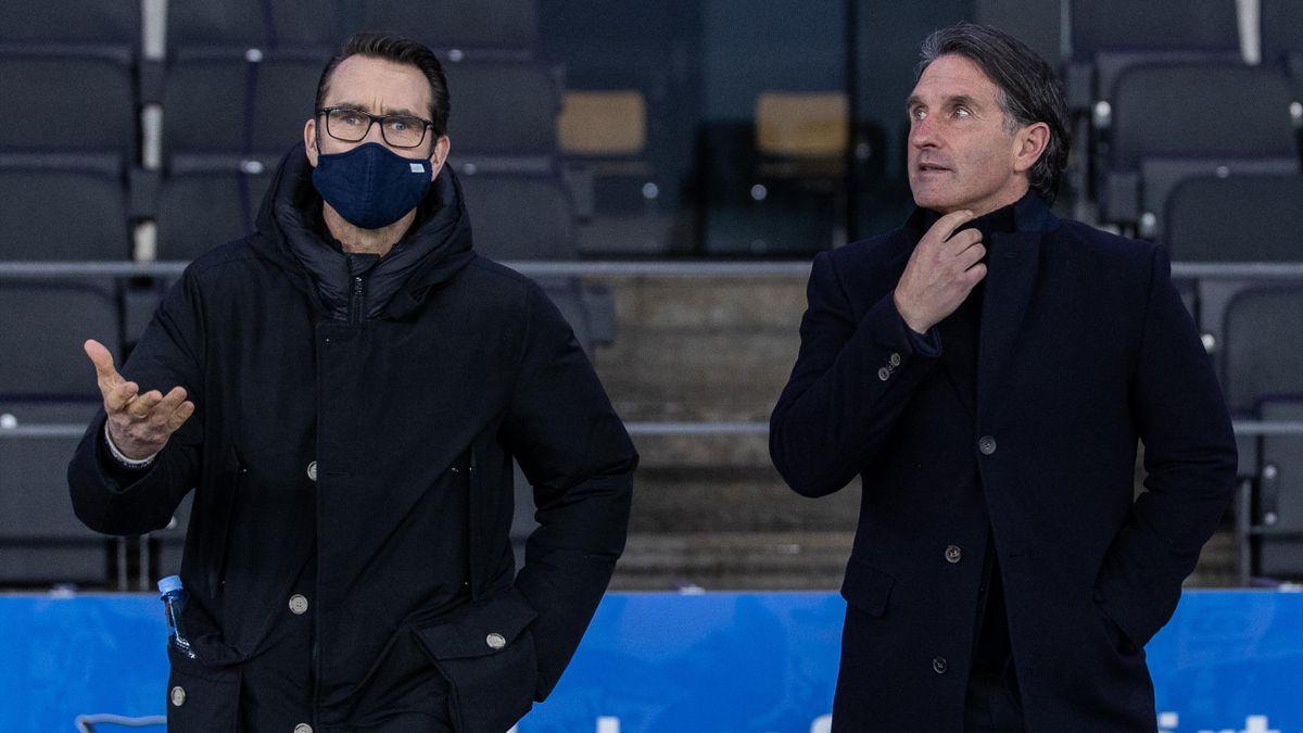 Hertha-Manager Michael Preetz (l.) und Trainer Bruno Labbadia (r.)