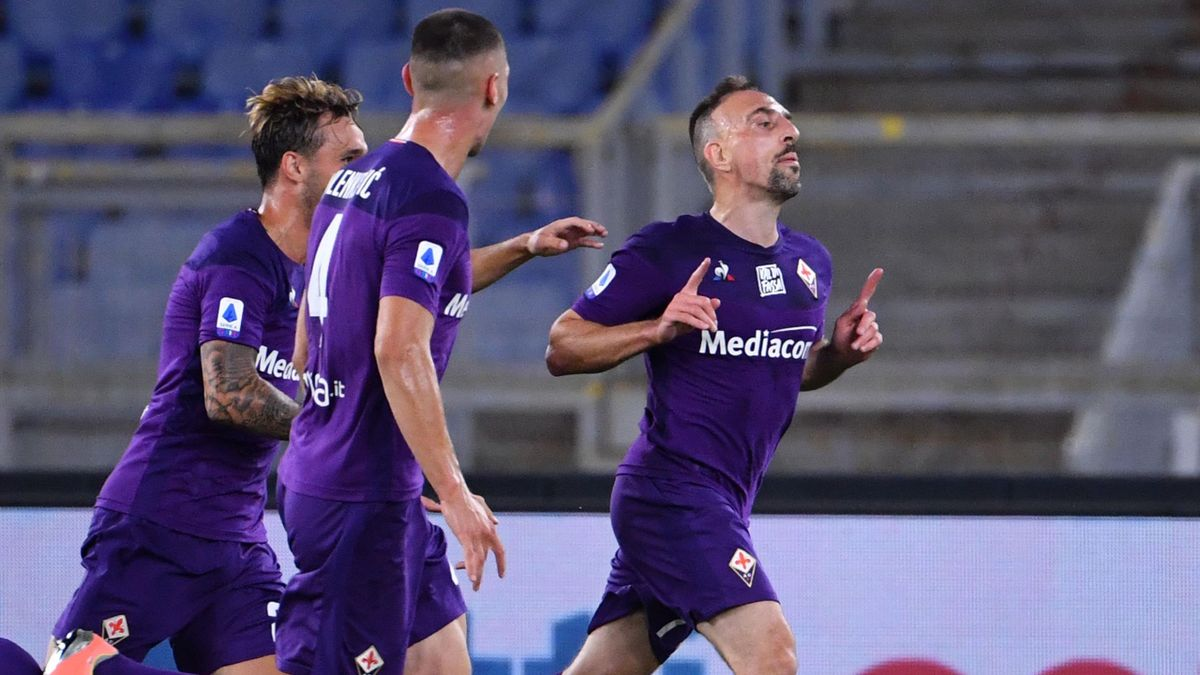 Franck Ribéry fête son but lors Lazio-Fiorentina / Serie A