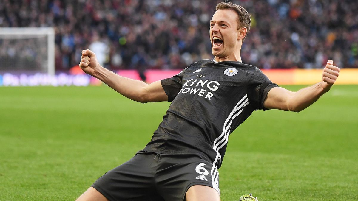 Jonny Evans of Leicester City celebrates after scoring his team's third goal during the Premier League match between Aston Villa and Leicester City at Villa Park on December 08, 2019 in Birmingham, United Kingdo