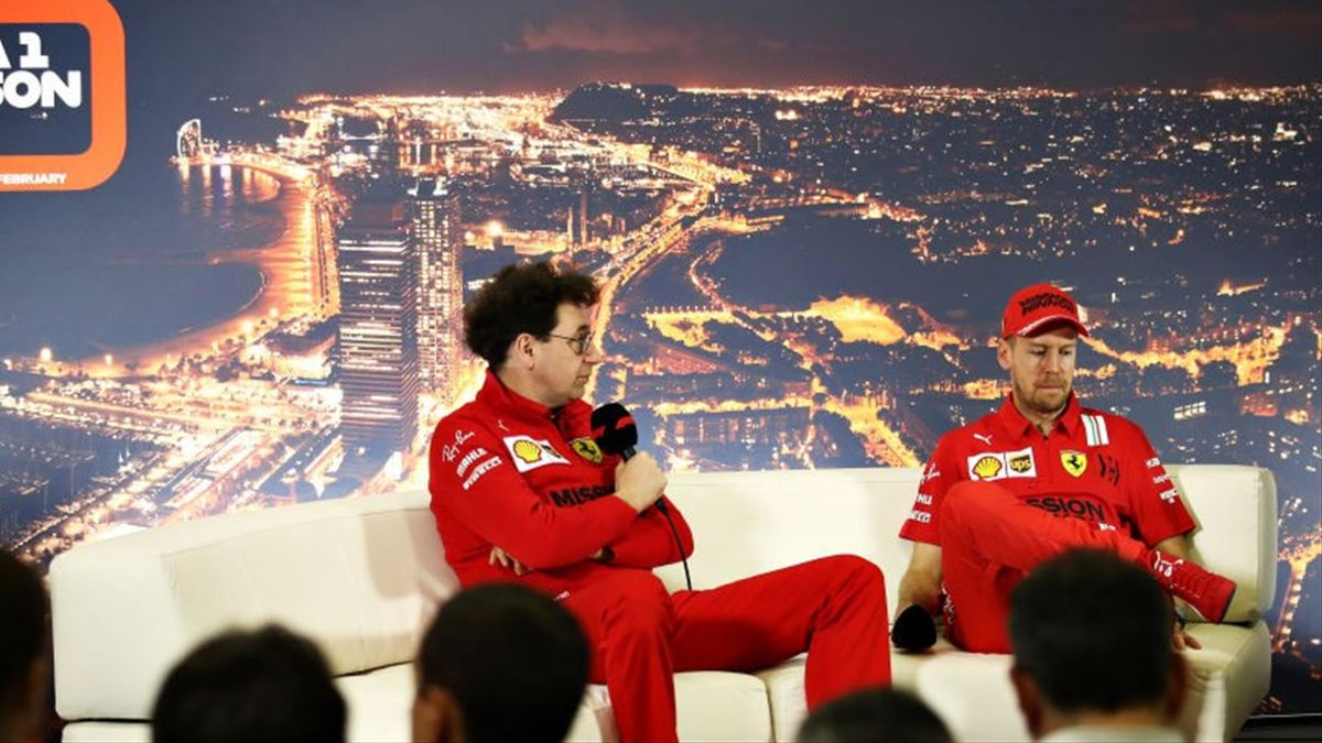 Mattia Binotto (l.) und Sebastian Vettel bei den Formel-1-Testfahrten 2020