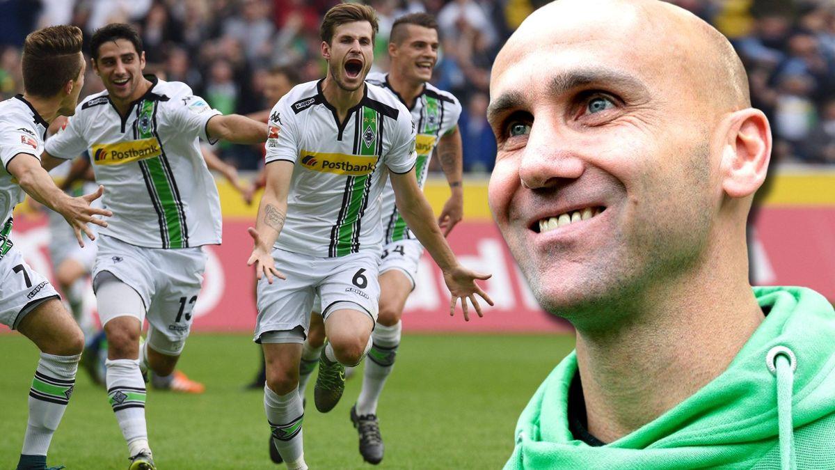 Haben allen Grund zur Freude: Borussia-Profis und ihr Trainer André Schubert