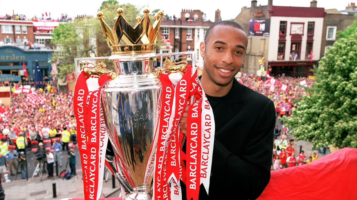 Thierry Henry of Arsenal during the Premier League Trophy parade on May 16, 2004 in London, England