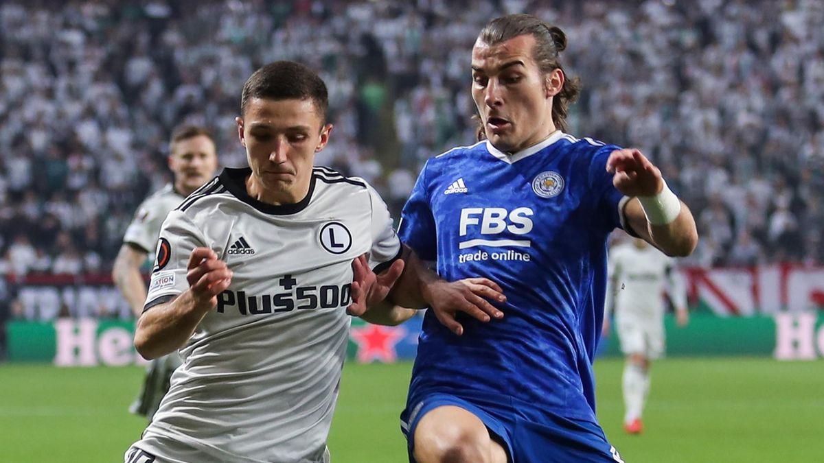 Leicester's Caglar Soyuncu (R) battles for the ball