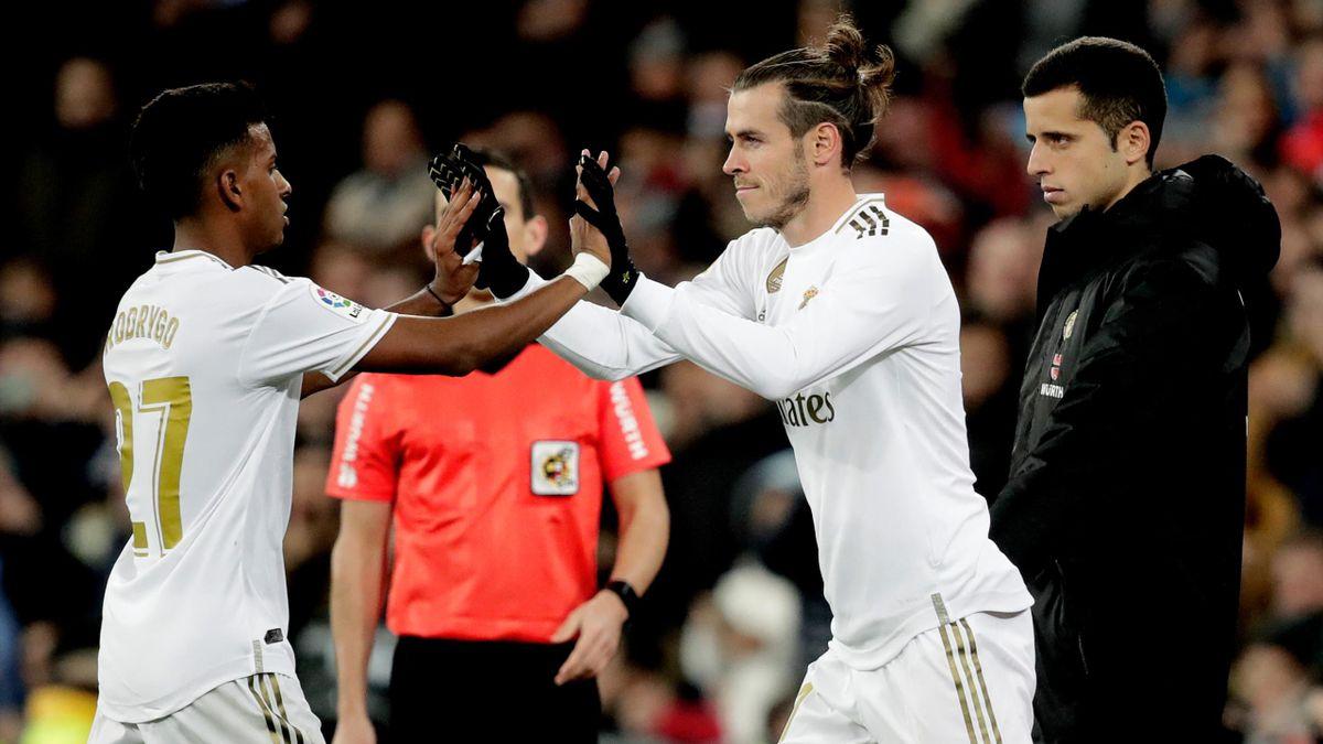 Rodrygo of Real Madrid, Gareth Bale of Real Madrid during the La Liga Santander match against Real Sociedad at the Santiago Bernabeu on November 23, 2019