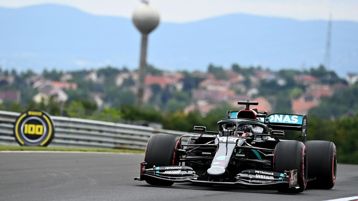 Mercedes' British driver Lewis Hamilton steers his car during the first practice session for the Formula One Hungarian Grand Prix at the Hungaroring circuit in Mogyorod near Budapest, Hungary, on July 17, 2020.