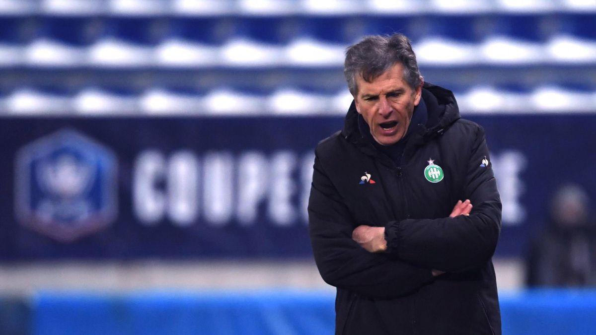 Claude Puel, coach d'une équipe de Saint-Etienne menée, à l'heure de jeu, sur la pelouse de Sochaux (1-0) - 32es de finale de Coupe de France (11/02/2021)