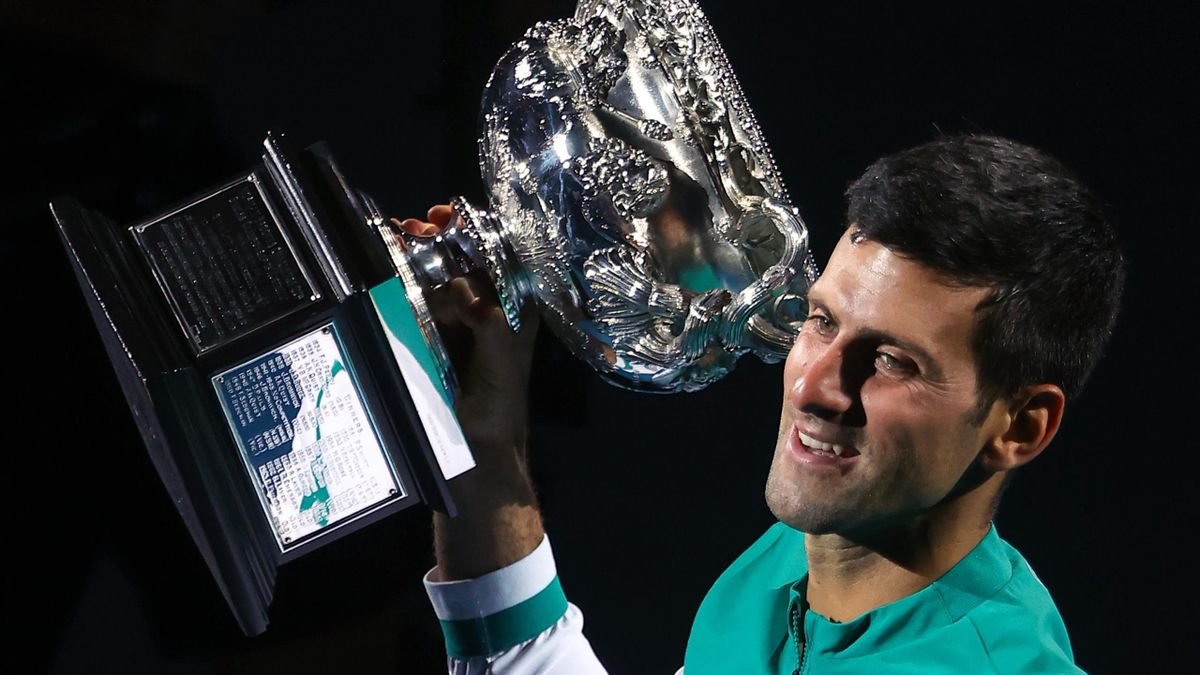 Novak Djokovic after winning a ninth Australian Open title