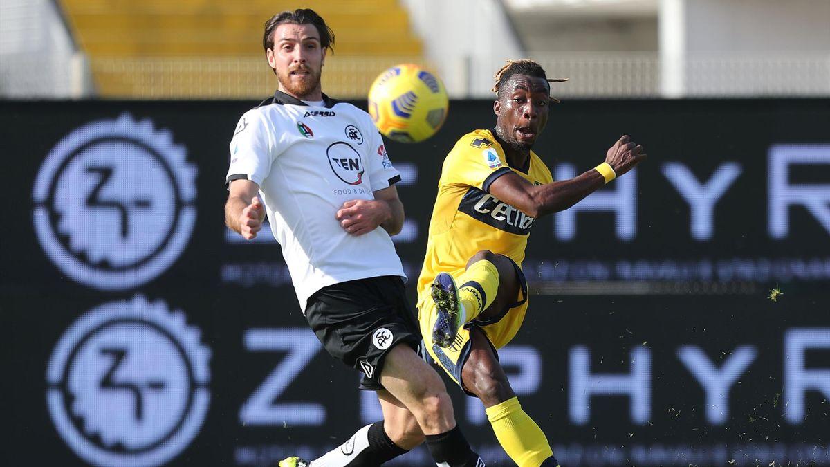 Yann Karamoh segna il gol in Spezia-Parma, Serie A 2020-21, Getty Images