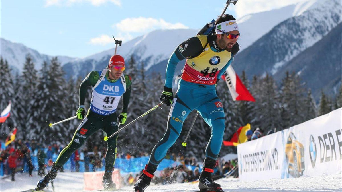 Martin Fourcade (France), Arnd Peiffer (Germany) - IBU Biathlon World Cup Men's Sprint 2018 - Antholz-Anterselva, Italy - Getty Images