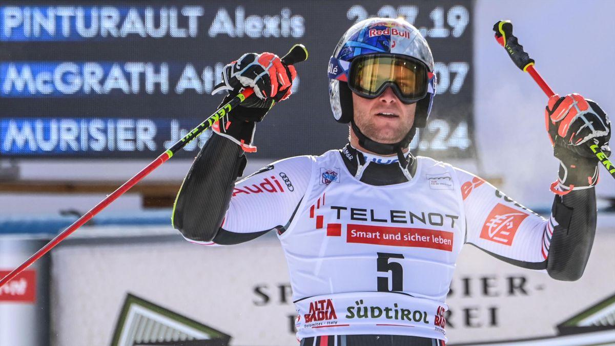 Alexis Pinturault savoure sa victoire lors du géant d'Alta Badia