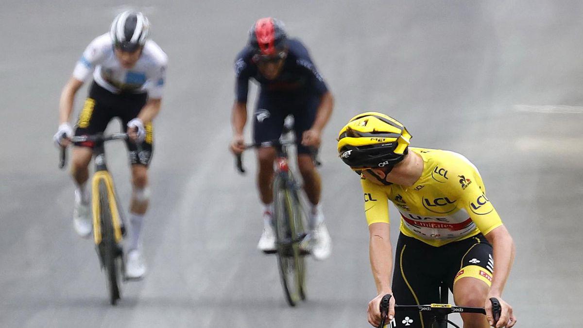 Tadej Pogacar a encore maté Vingegaard et Carapaz pour gagner la 18e étape.