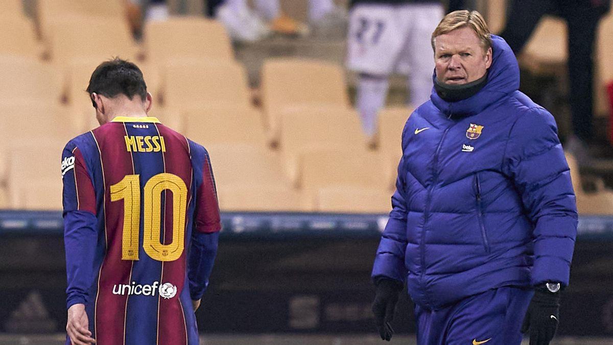 Lionel Messi (L) and Ronald Koeman (R)
