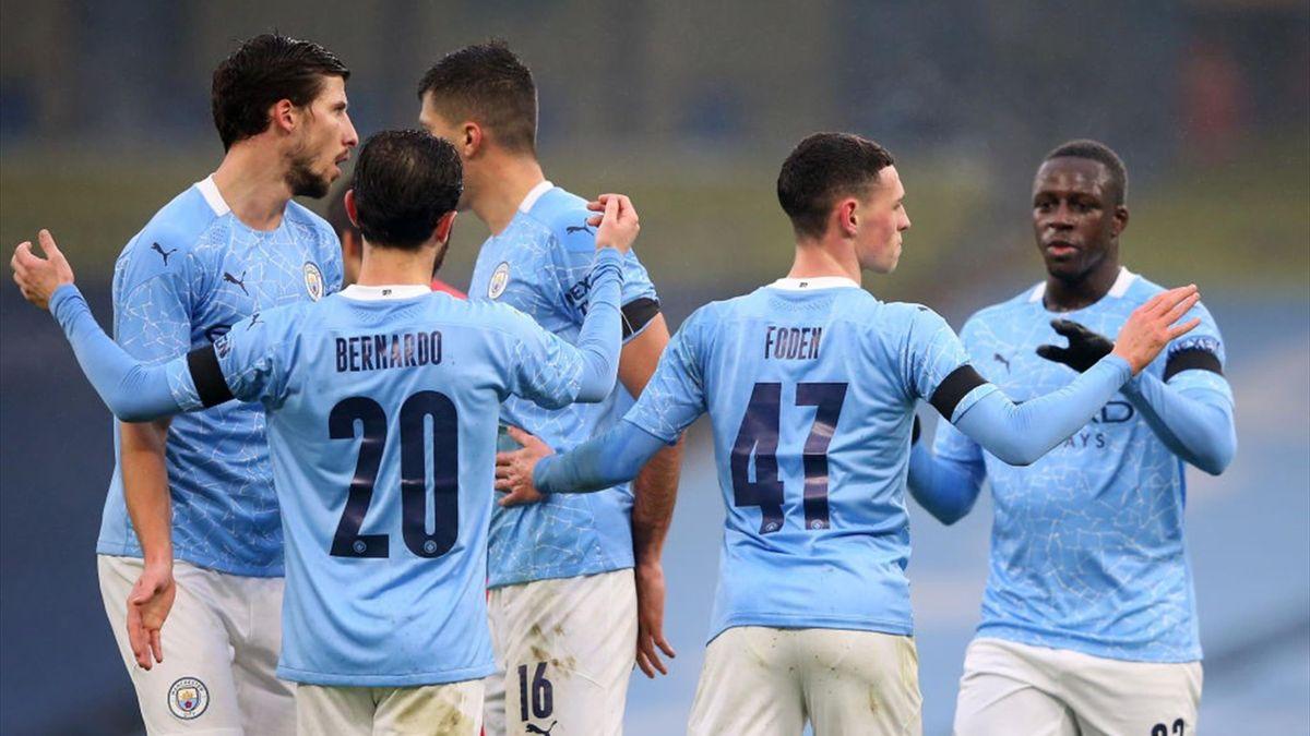 Phil Foden fête son but lors de Manchester City - Birmingham City en FA Cup le 10 janvier 2021