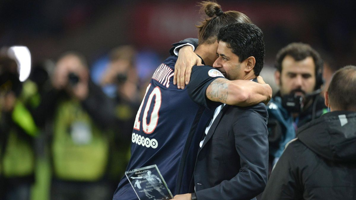 Zlatan Ibrahimovic et le préisdent du PSG, Nasser Al-Khelaïfi