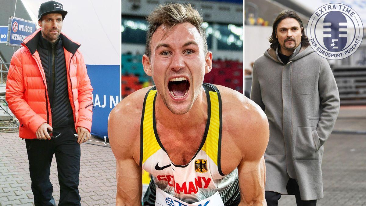Gäste im Eurosport-Podcast: Hannawald, Kaul, Pfannenstiel (v.l.n.r.)