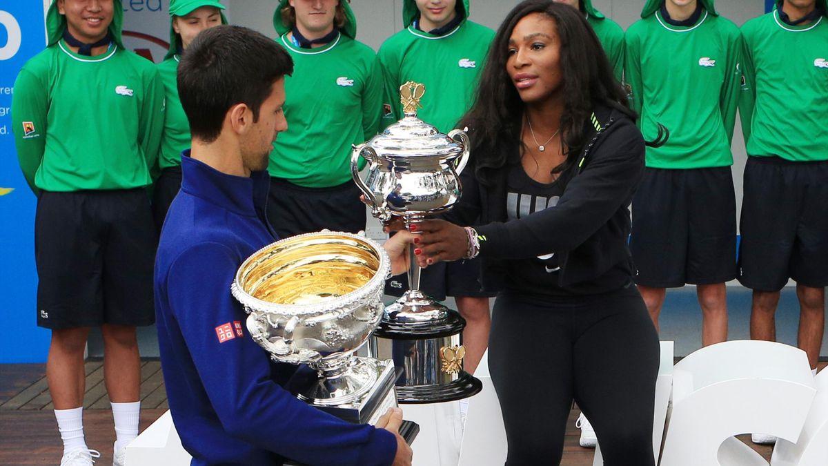 "Novak Djokovic et Serena Williams lors du ""photo call"" avant le début de l'Open"