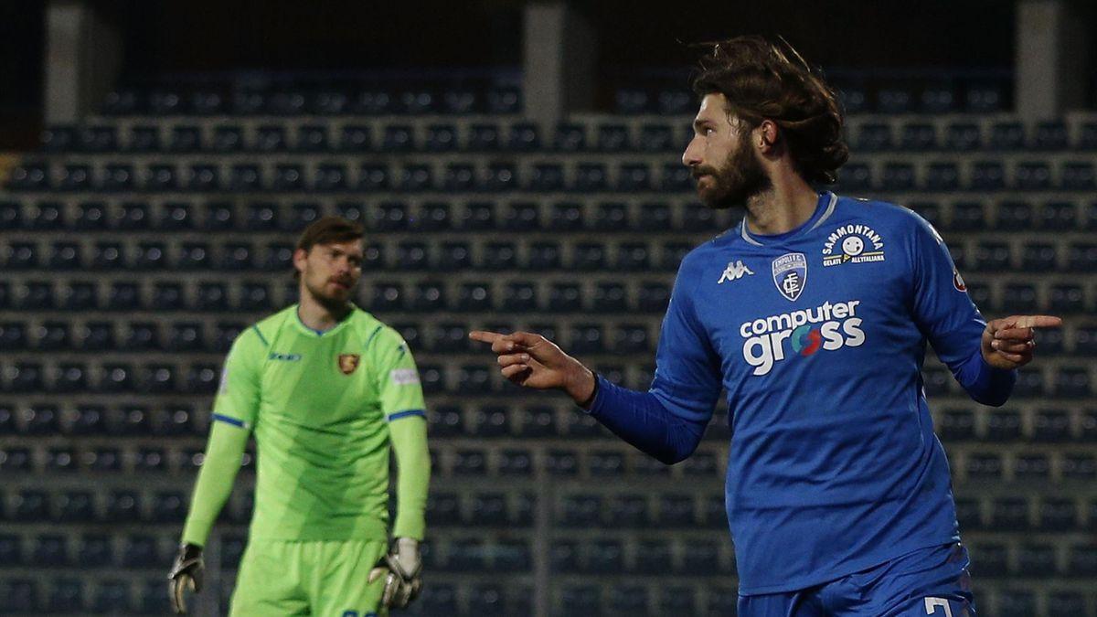 Empoli-Salernitana 5-0, Serie B 2020-2021: Leonardo Mancuso esulta dopo il gol del momentaneo 3-0 (Getty Images)