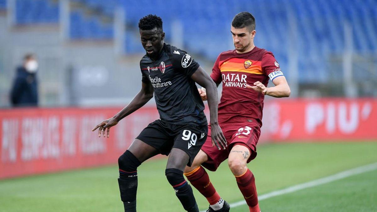 Musa Barrow e Gianluca Mancini - Roma-Bologna Serie A 2020-21