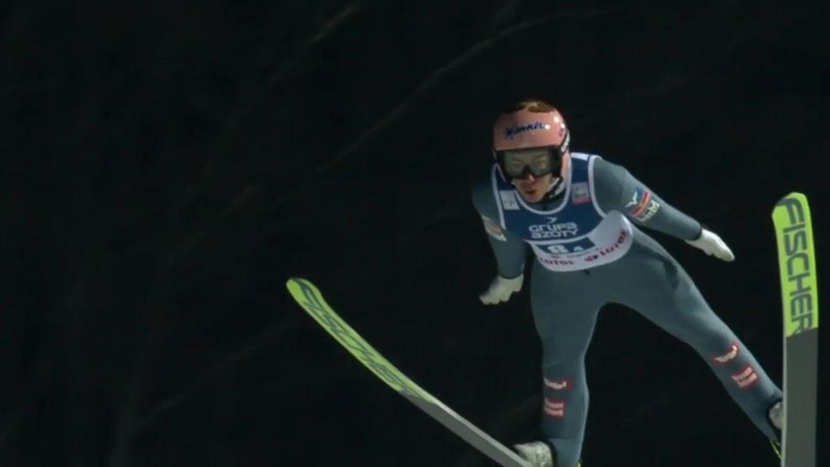 Stefan Kraft, în timpul competiției pe echipe (Wisla)