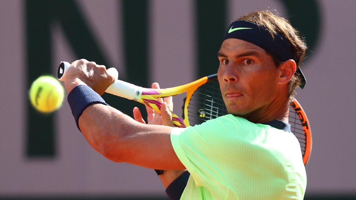 Rafael Nadal lors de son 8e de finale contre Jannik Sinner à Roland-Garros 2021