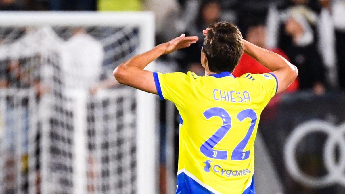Federico Chiesa esulta per il gol, Spezia-Juventus, Getty Images