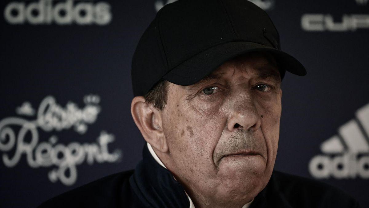Jean-Louis Gasset (Girondins de Bordeaux) lors d'une conférence de presse le 23 avril 2021