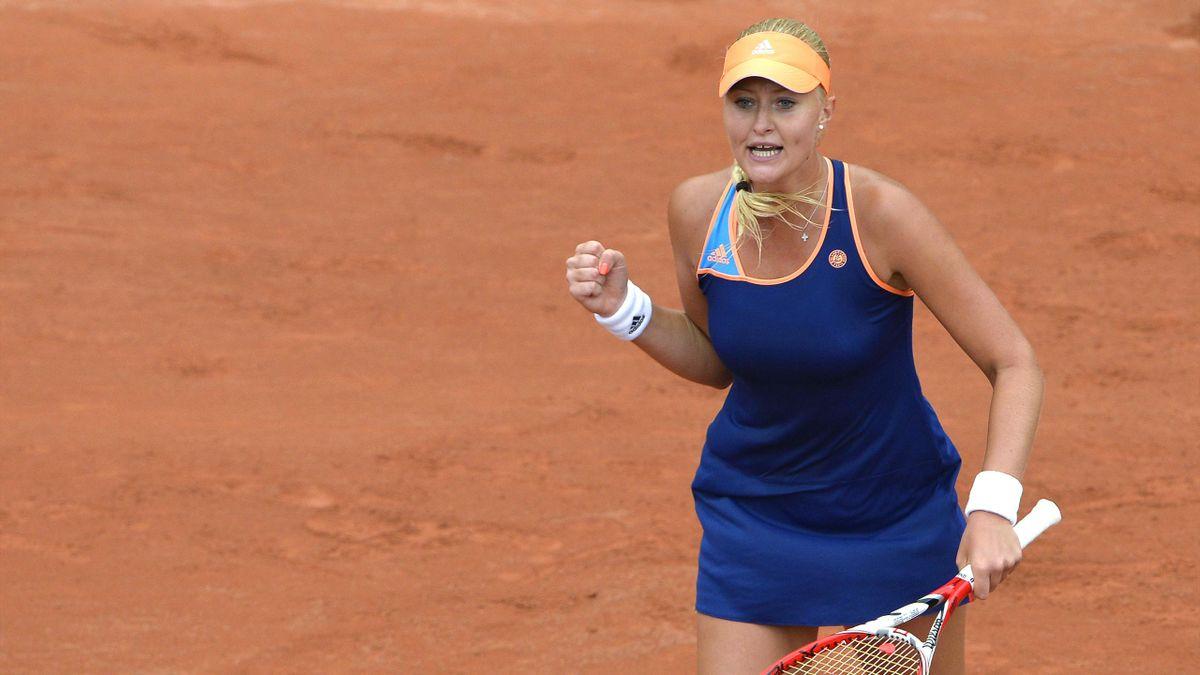 Kristina Mladenovic lors de sa victoire contre Li Na à Roland-Garros 2014