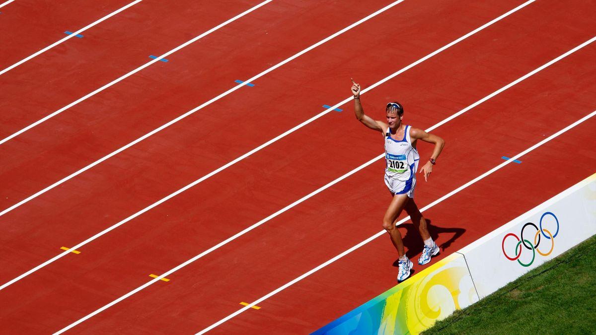 Alex Schwazer nella 50 km di Pechino 2008