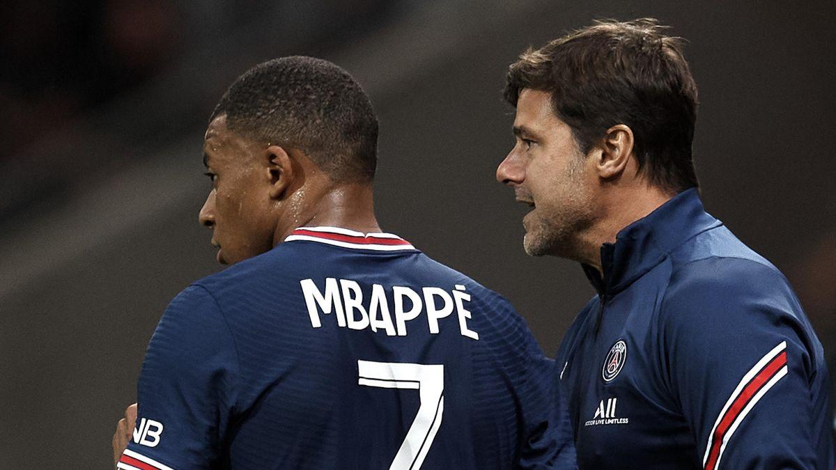 Kylian Mbappé y Mauricio Pochettino (PSG)