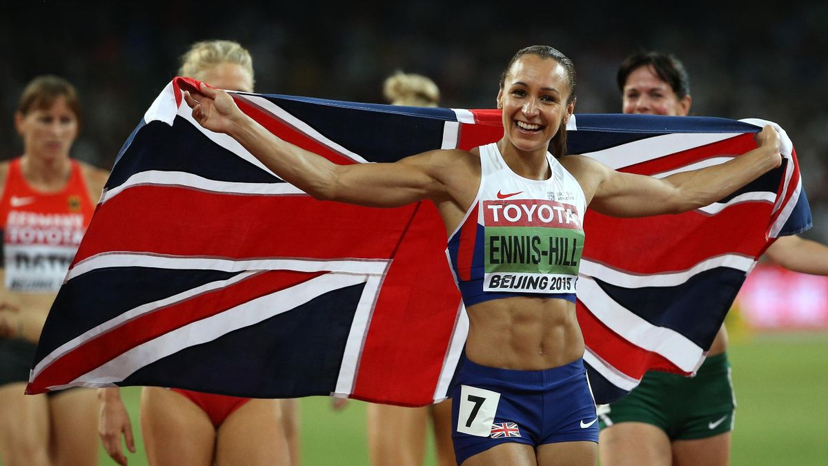 Jessica Ennis-Hill of Great Britain celebrates after winning the Women's Heptathlon 800 metres and the overall Heptathlon gold during day two of the 15th IAAF World Athletics Championships Beijing 2015 at Beijing National Stadium on August 23, 2015 in Bei