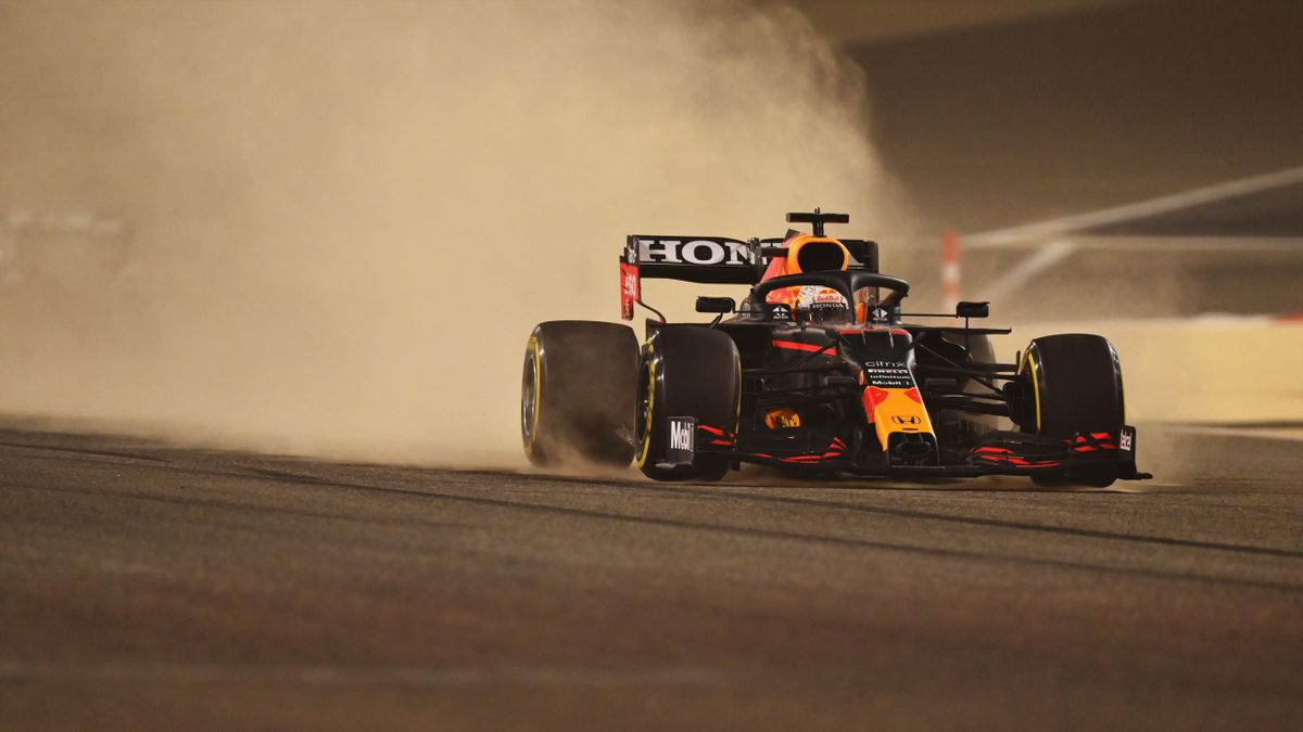 Max Verstappen of the Netherlands driving the (33) Red Bull Racing RB16B Honda kicks up sand on track during Day One of F1 Testing at Bahrain International Circuit on March 12, 2021 in Bahrain, Bahrain