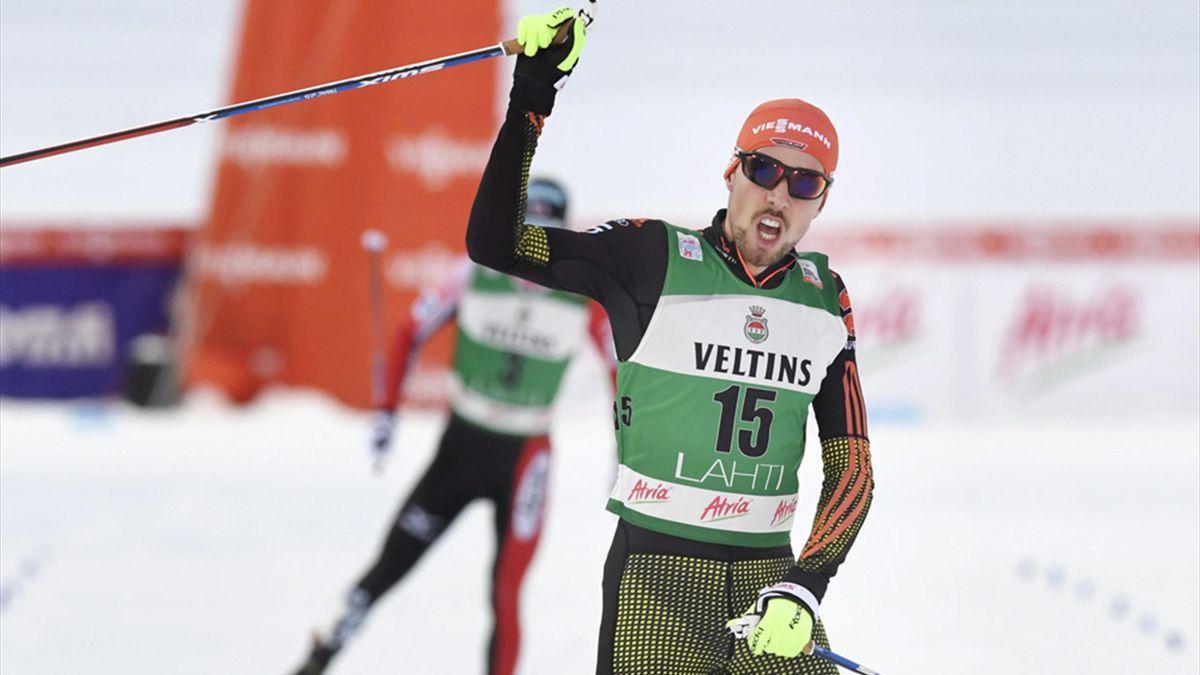 Johannes Rydzek hat den Weltcup in Seefeld gewonnen