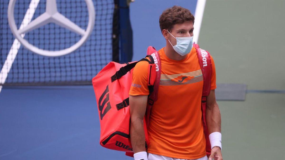 Pablo Carreño Busta après sa victoire sur disqualification face à Novak Djokovic à l'US Open 2020