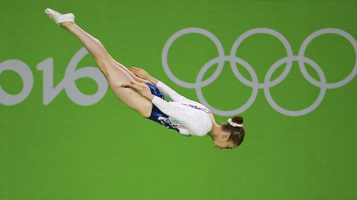 Bryony Page (GBR) of Britain competes