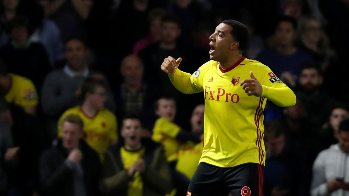 Watford's Troy Deeney celebrates scoring their first goal