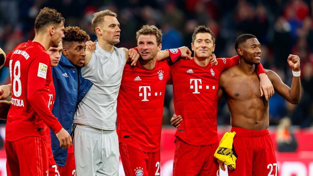 Leon Goretzka, Kingsley Coman, Manuel Neuer, Thomas Müller, Robert Lewandowski und David Alaba vom FC Bayern