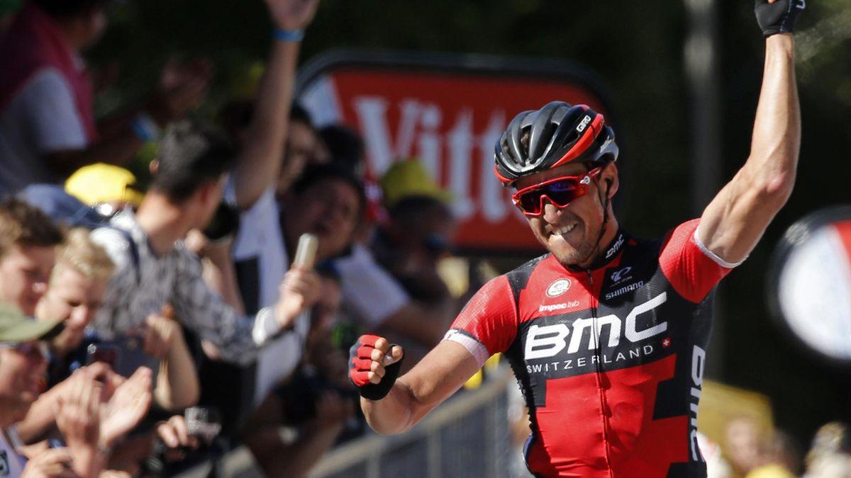 BMC Racing team rider Greg Van Avermaet of Belgium wins on the finish line.
