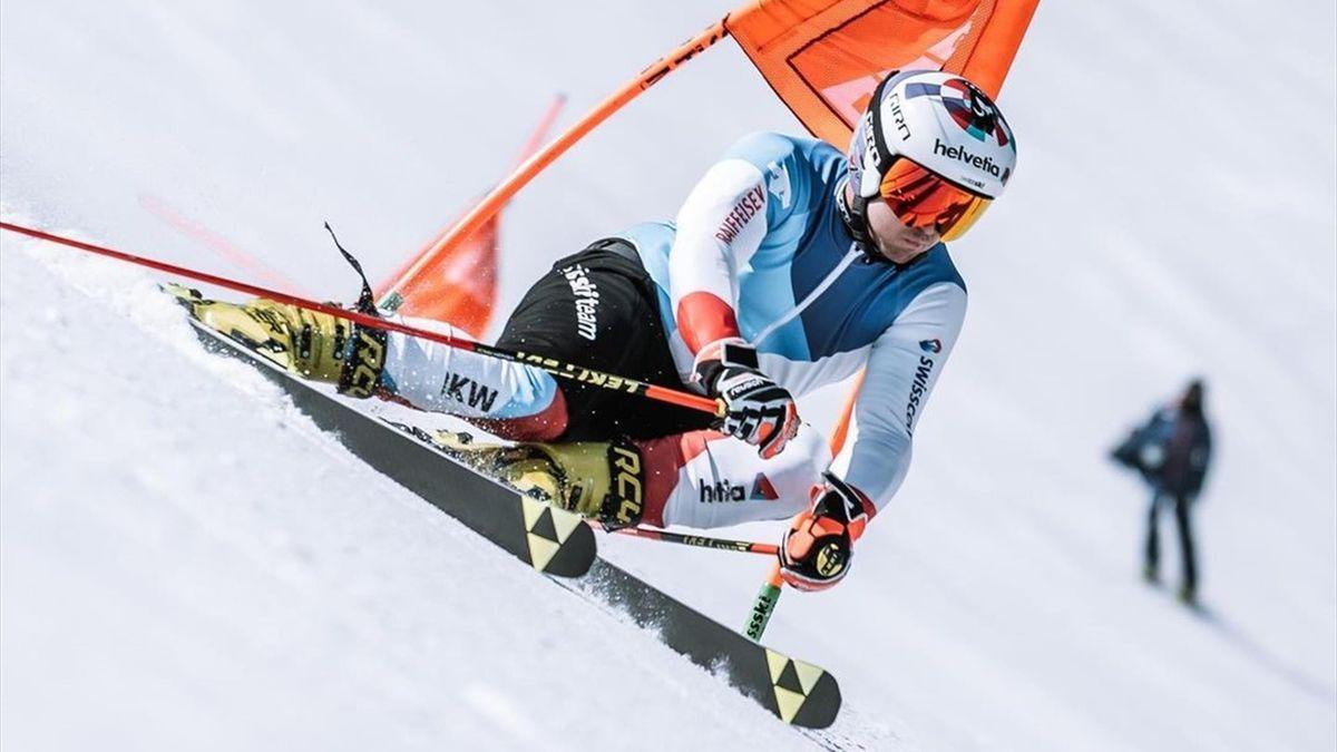 Urs Kryenbühl stand nach seinem schweren Sturz erstmals wieder auf Speed-Ski