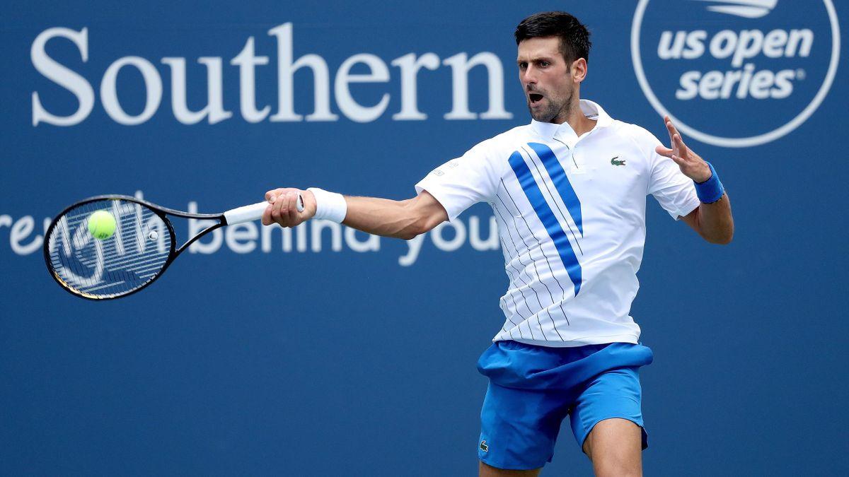 Novak Djokovic face à Bautista-Agut, le 28 août 2020 lors du tournoi de Cincinnati